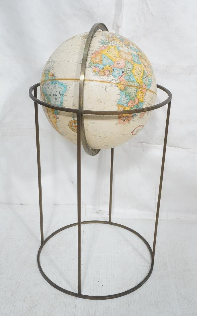 Modernist Large World Globe in Metal Stand.  Paul