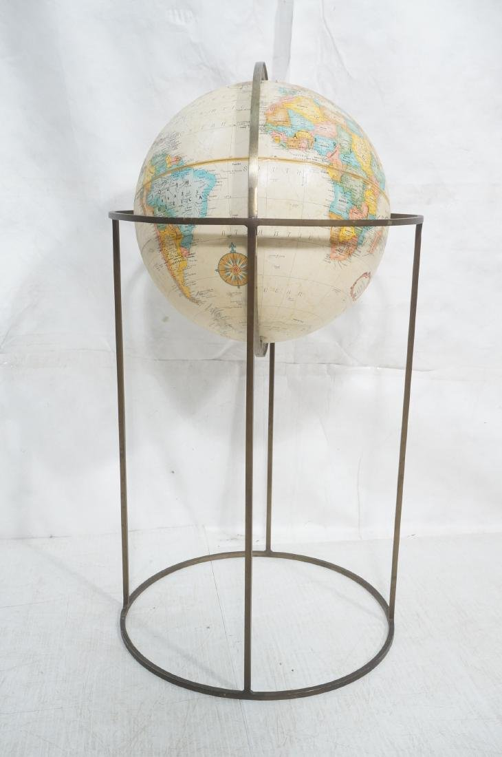 Modernist Large World Globe in Metal Stand.  Paul - 2