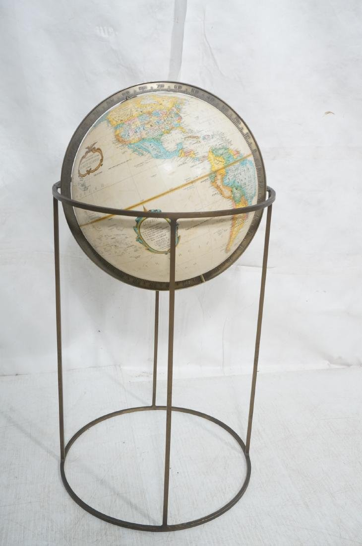 Modernist Large World Globe in Metal Stand.  Paul - 3