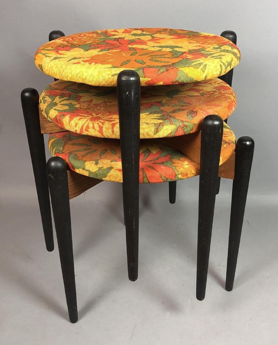 Set 3 Stacking Stools. Black Wood Legs. Floral fa