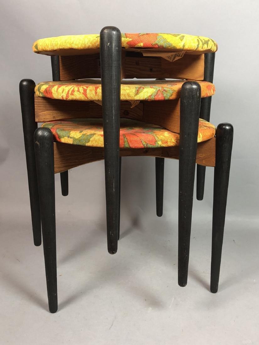 Set 3 Stacking Stools. Black Wood Legs. Floral fa - 3