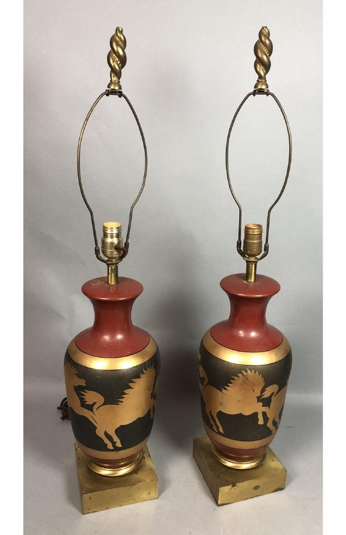 Pr Decorator Table Lamps. Brass Urn Form with Gal - 2