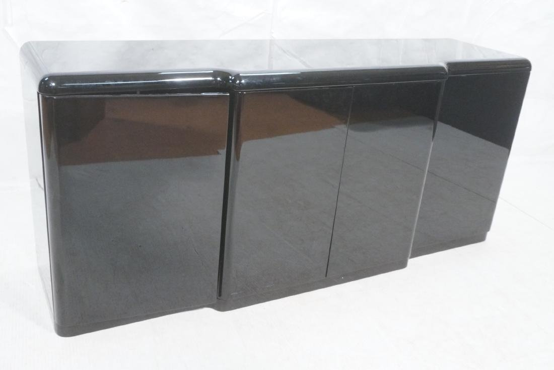 Black Modernist Credenza Sideboard. Stepped front
