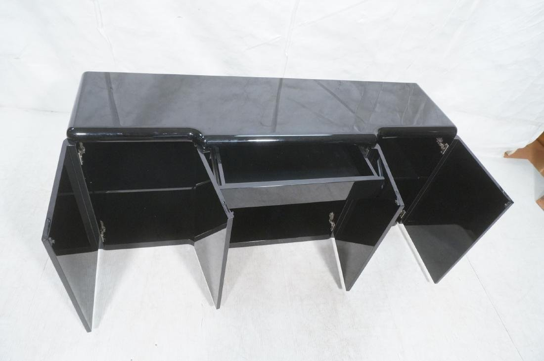 Black Modernist Credenza Sideboard. Stepped front - 8