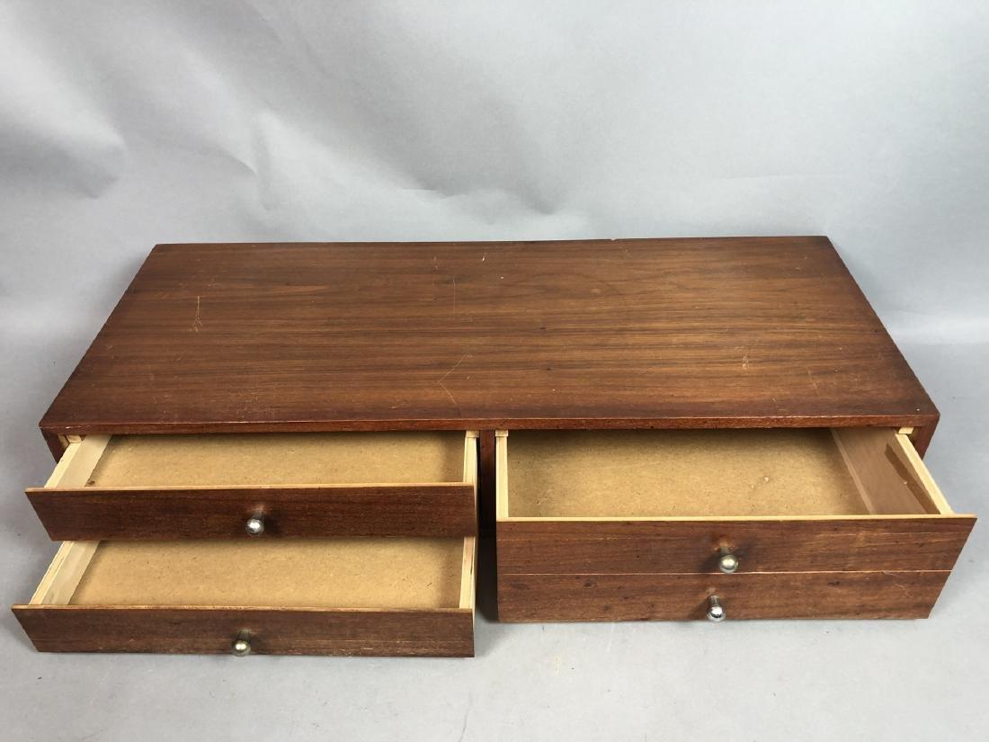 Single Walnut Dresser Top Jewelry Chest. Metal Pu - 3