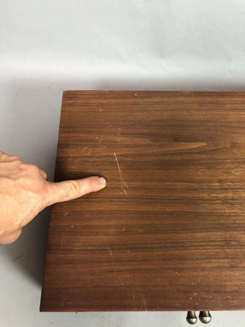 Single Walnut Dresser Top Jewelry Chest. Metal Pu - 5