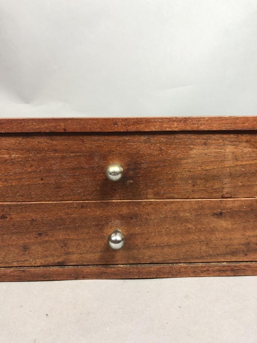 Single Walnut Dresser Top Jewelry Chest. Metal Pu - 9