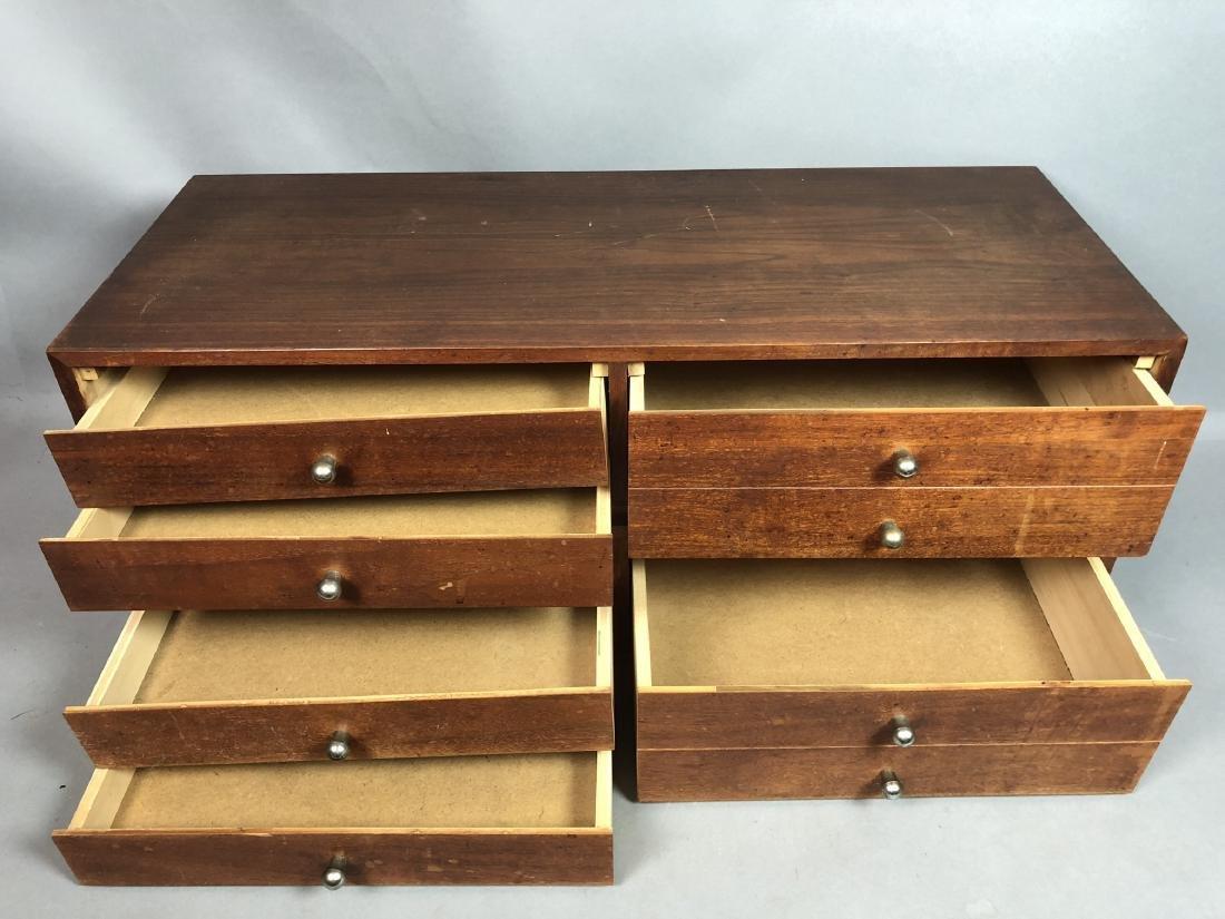 Pr Walnut Dresser Top Jewelry Chests. Metal Pulls - 2