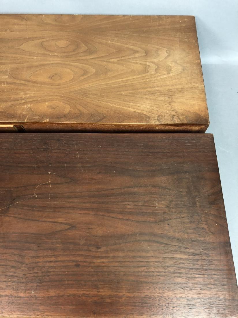 Pr Walnut Dresser Top Jewelry Chests. Metal Pulls - 6
