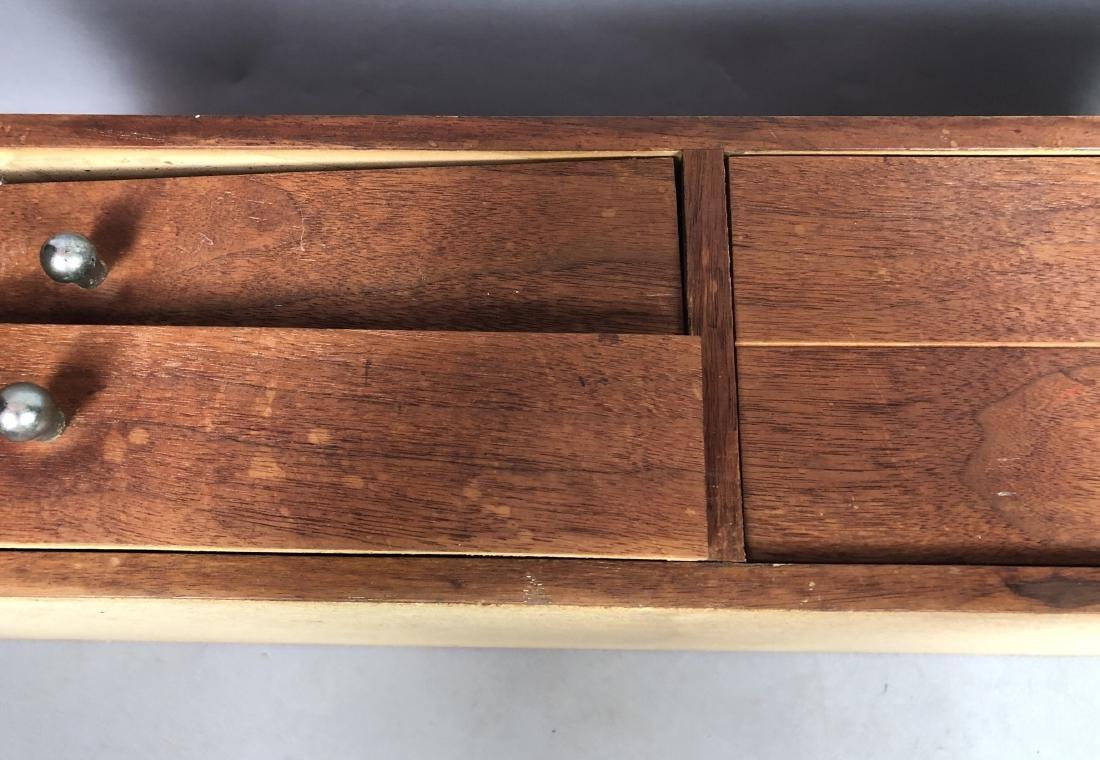 Pr Walnut Dresser Top Jewelry Chests. Metal Pulls - 8
