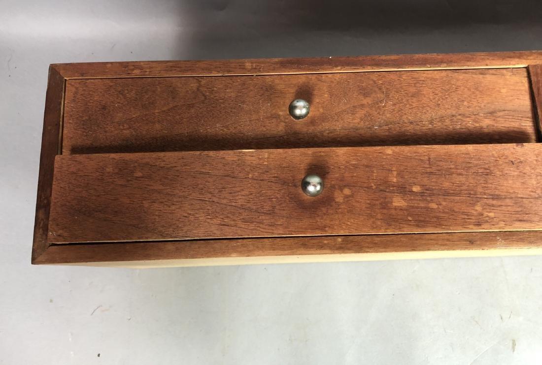 Pr Walnut Dresser Top Jewelry Chests. Metal Pulls - 9