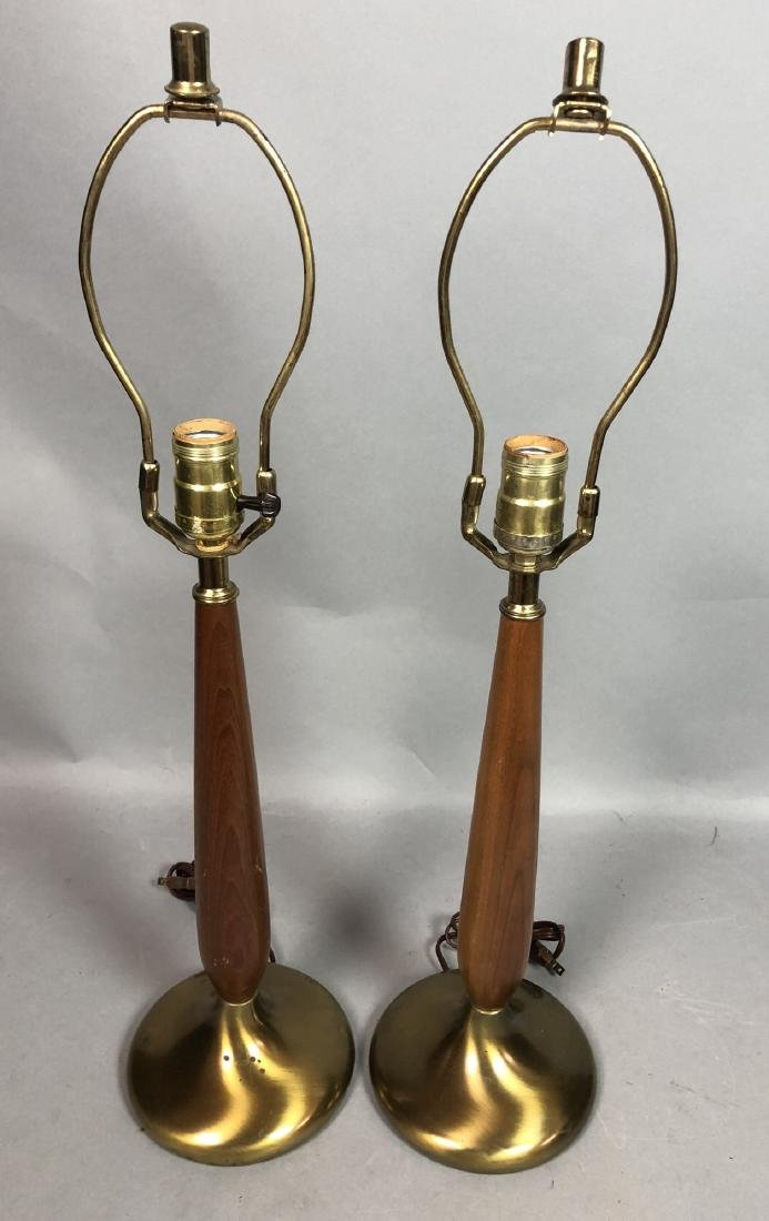 Pr Brass & Wood Modernist Table Lamps.