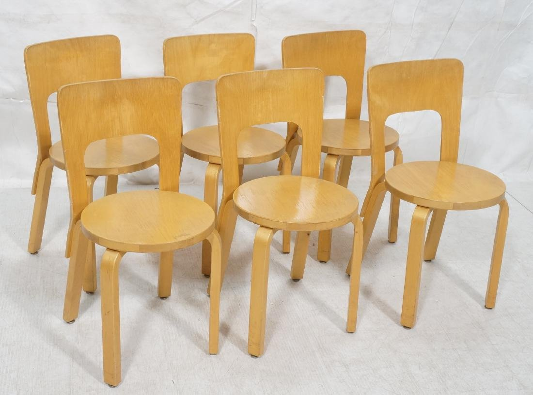 Set Blond Wood Laminated Side Chairs. ALVAR AALTO