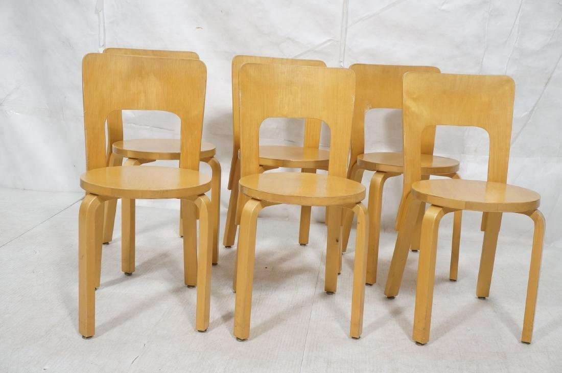 Set Blond Wood Laminated Side Chairs. ALVAR AALTO - 2