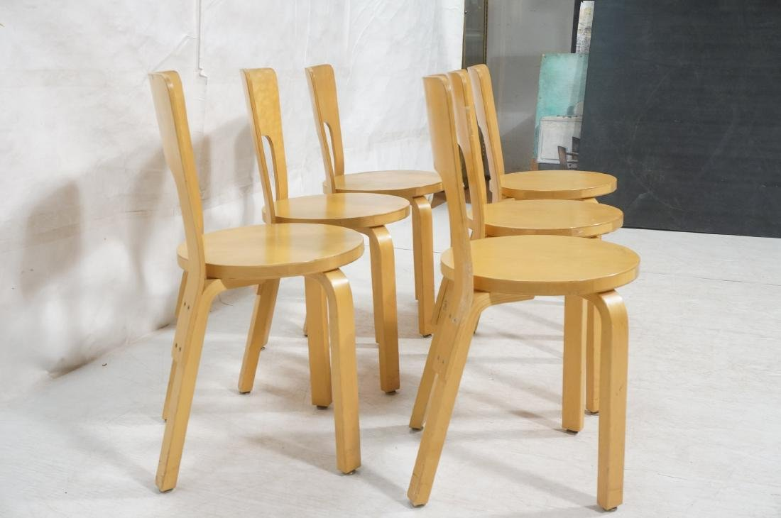 Set Blond Wood Laminated Side Chairs. ALVAR AALTO - 3