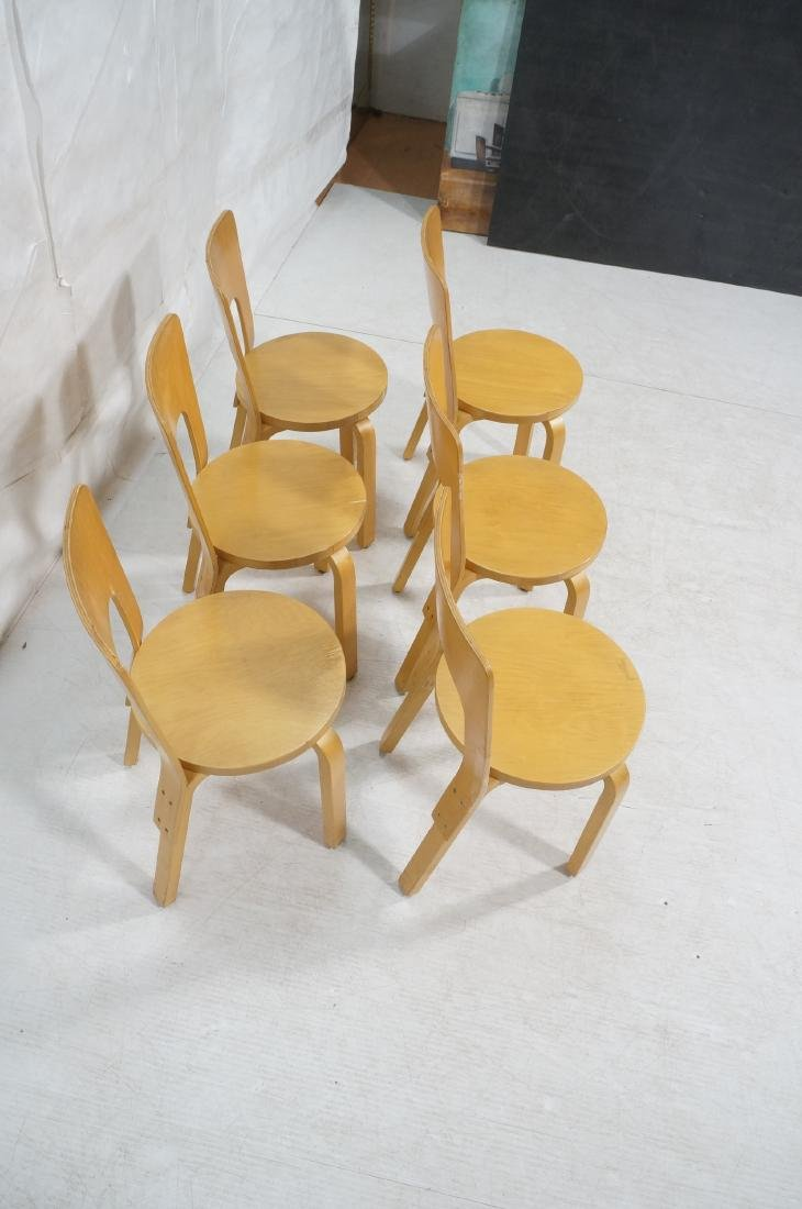 Set Blond Wood Laminated Side Chairs. ALVAR AALTO - 4