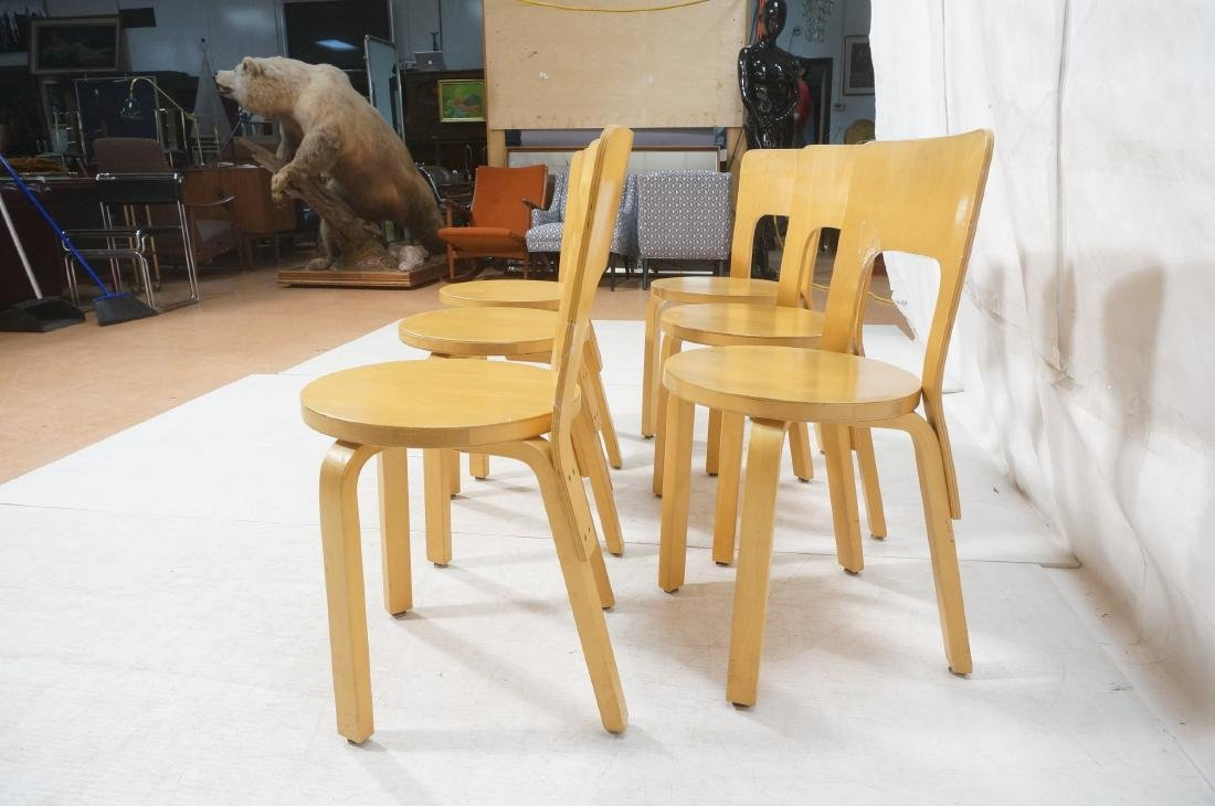 Set Blond Wood Laminated Side Chairs. ALVAR AALTO - 5