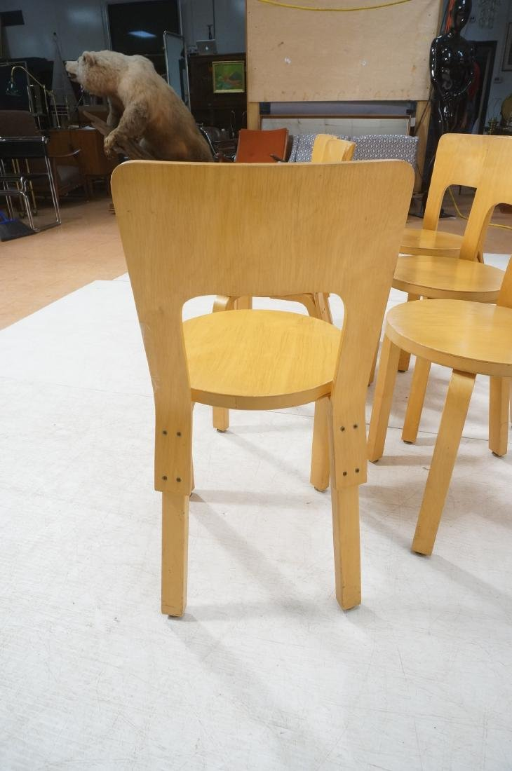 Set Blond Wood Laminated Side Chairs. ALVAR AALTO - 6