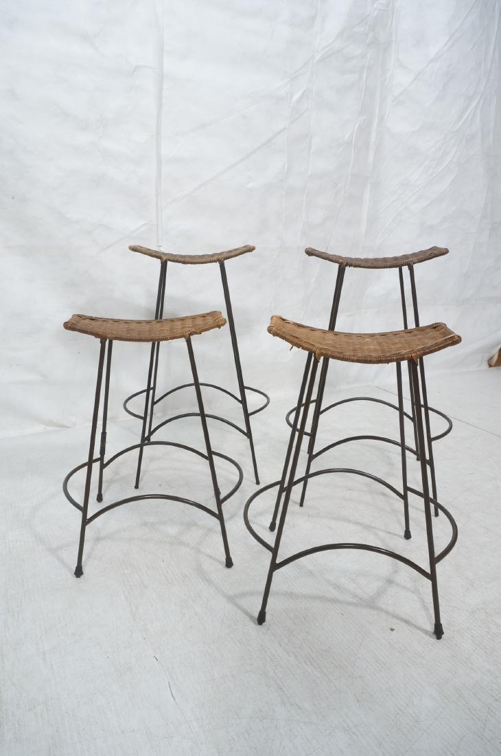 Set 4 ARTHUR UMANOFF Style Woven Rattan Bar Stool - 2