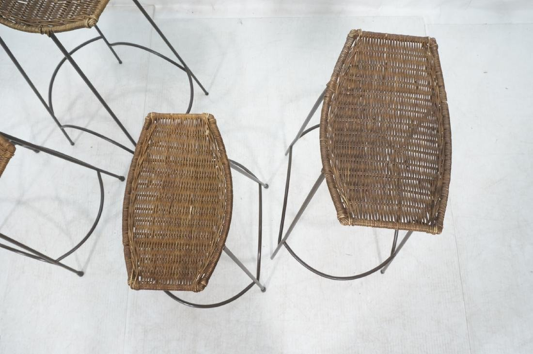 Set 4 ARTHUR UMANOFF Style Woven Rattan Bar Stool - 4