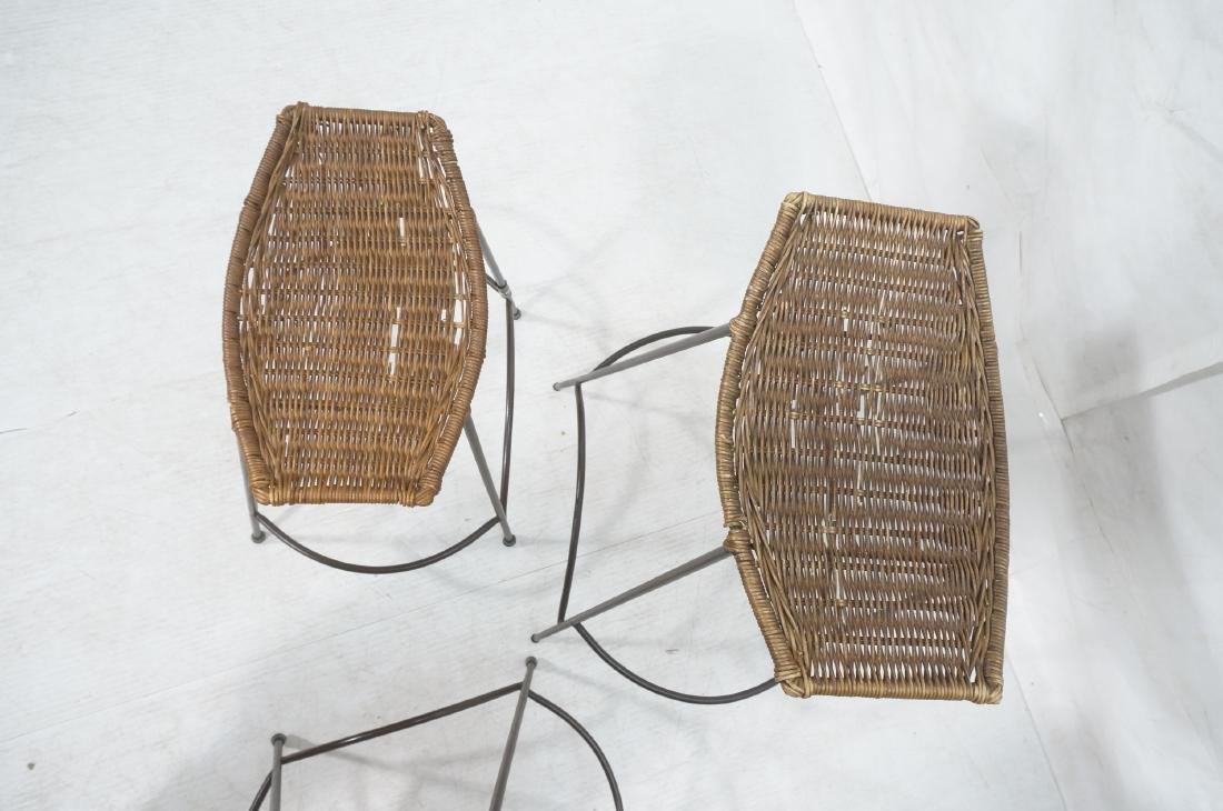 Set 4 ARTHUR UMANOFF Style Woven Rattan Bar Stool - 5