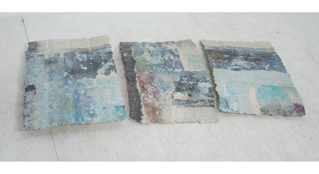 3pc Modernist Wall Hanging Marbled Patchwork Pape