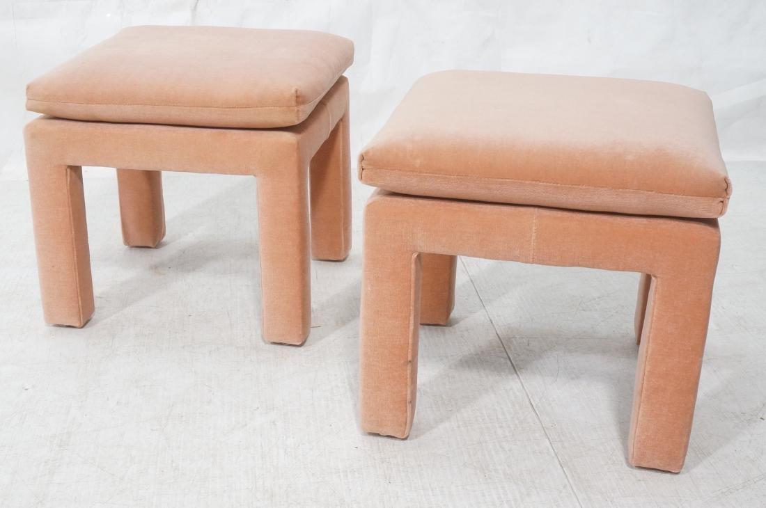 Pr Peach Velvet Decorator Bench Stool. Pillow top