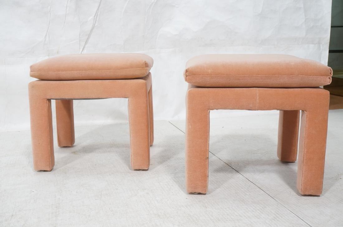 Pr Peach Velvet Decorator Bench Stool. Pillow top - 2