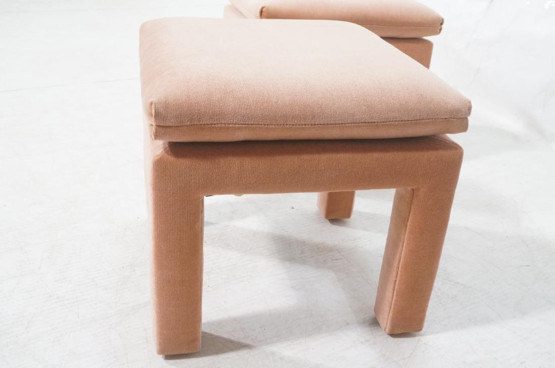 Pr Peach Velvet Decorator Bench Stool. Pillow top - 3