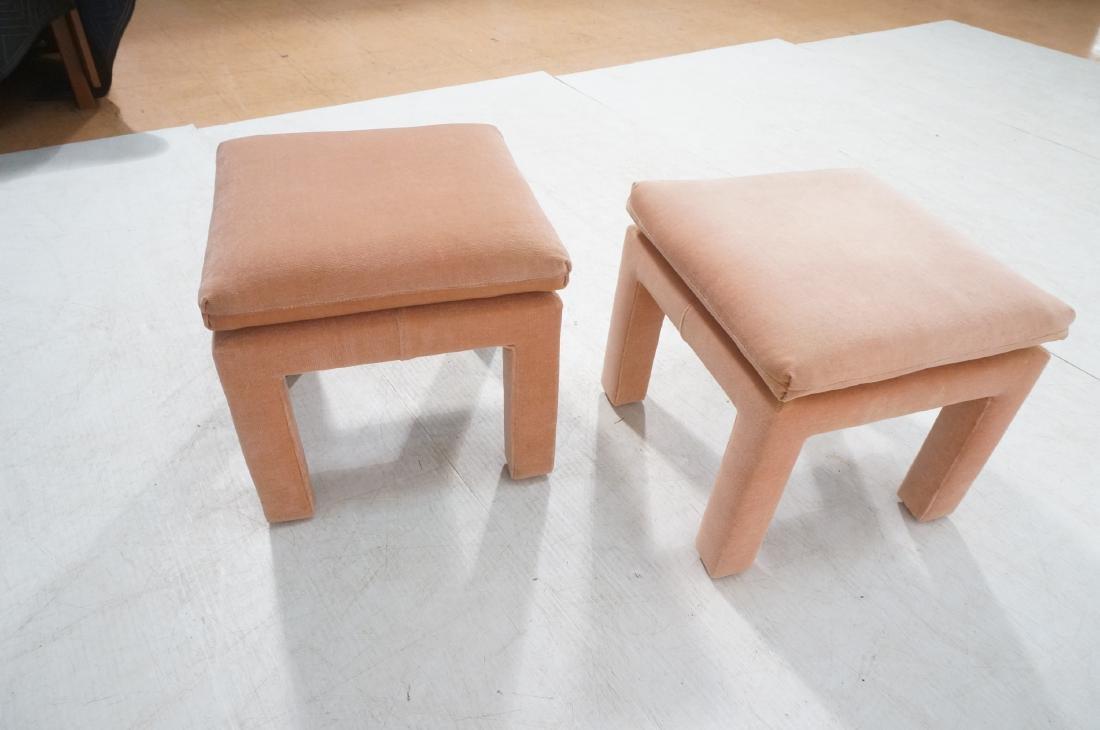 Pr Peach Velvet Decorator Bench Stool. Pillow top - 4