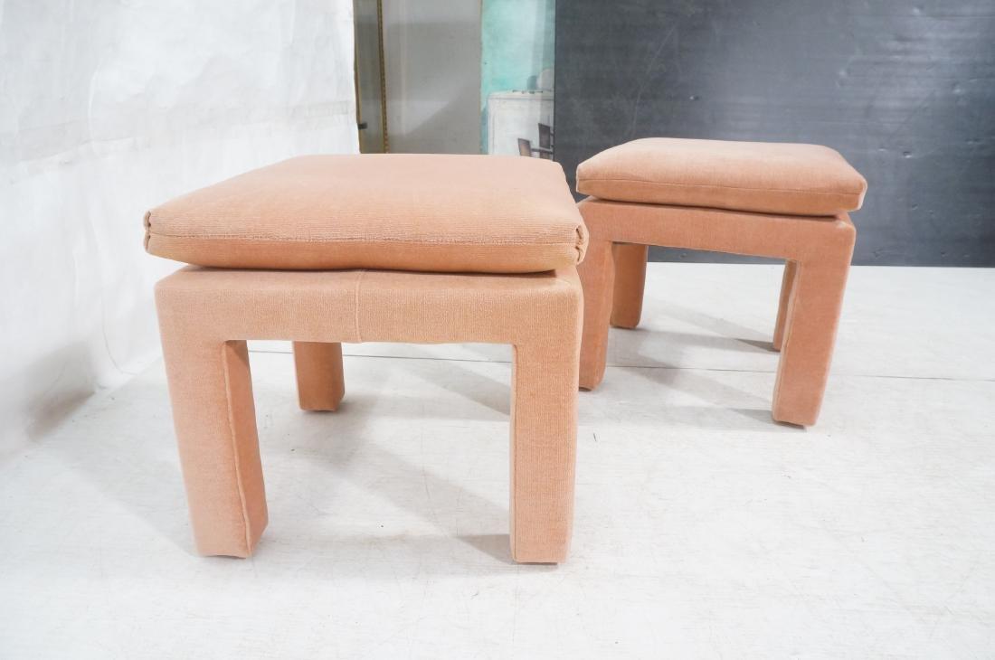 Pr Peach Velvet Decorator Bench Stool. Pillow top - 5