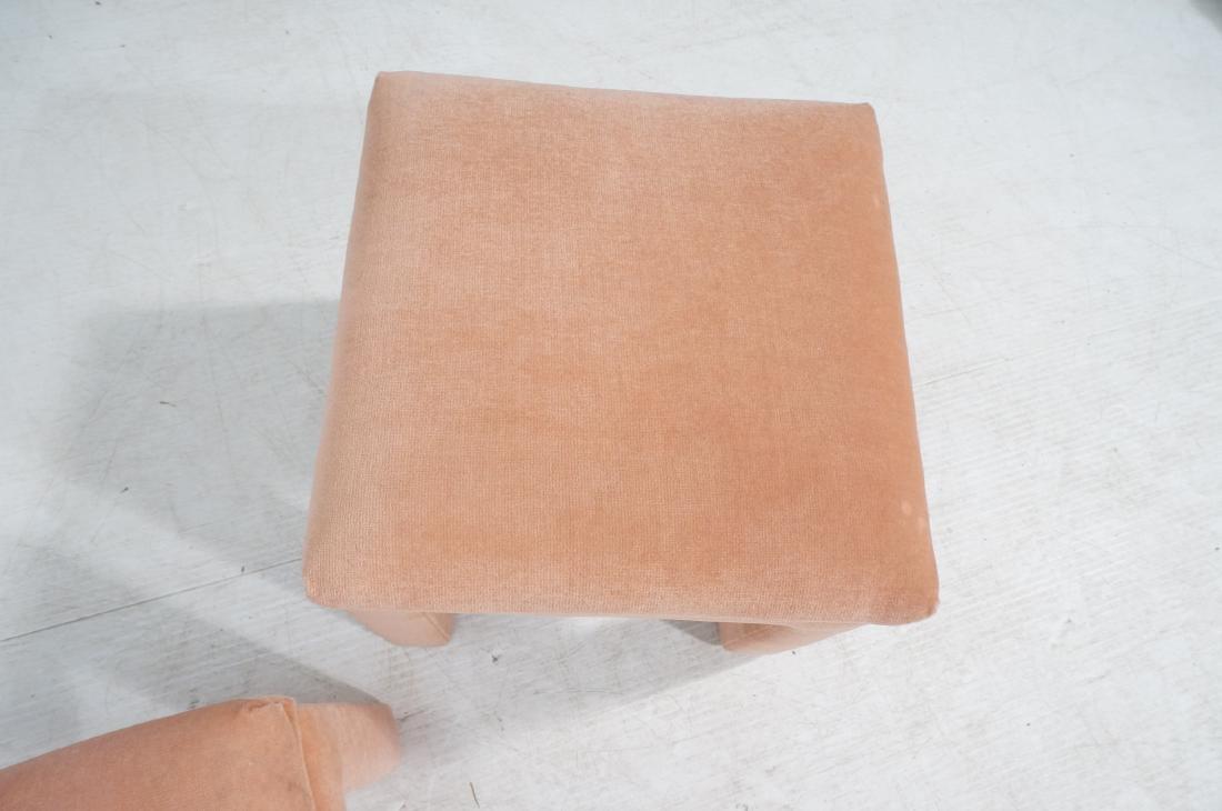 Pr Peach Velvet Decorator Bench Stool. Pillow top - 7