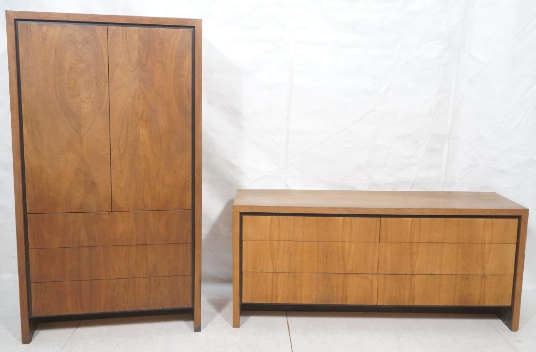 2Pc American Modern Walnut Bedroom Set DILLINGHAM