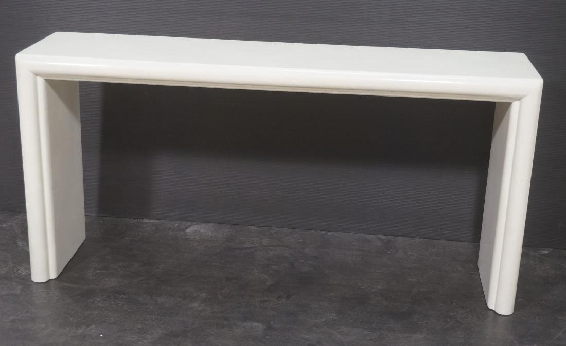 Modernist Lacquered Hall Console Table. Modeled p