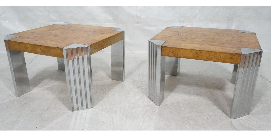 Pr Leon Rosen Side Tables.  Art Deco Burl Wood Si