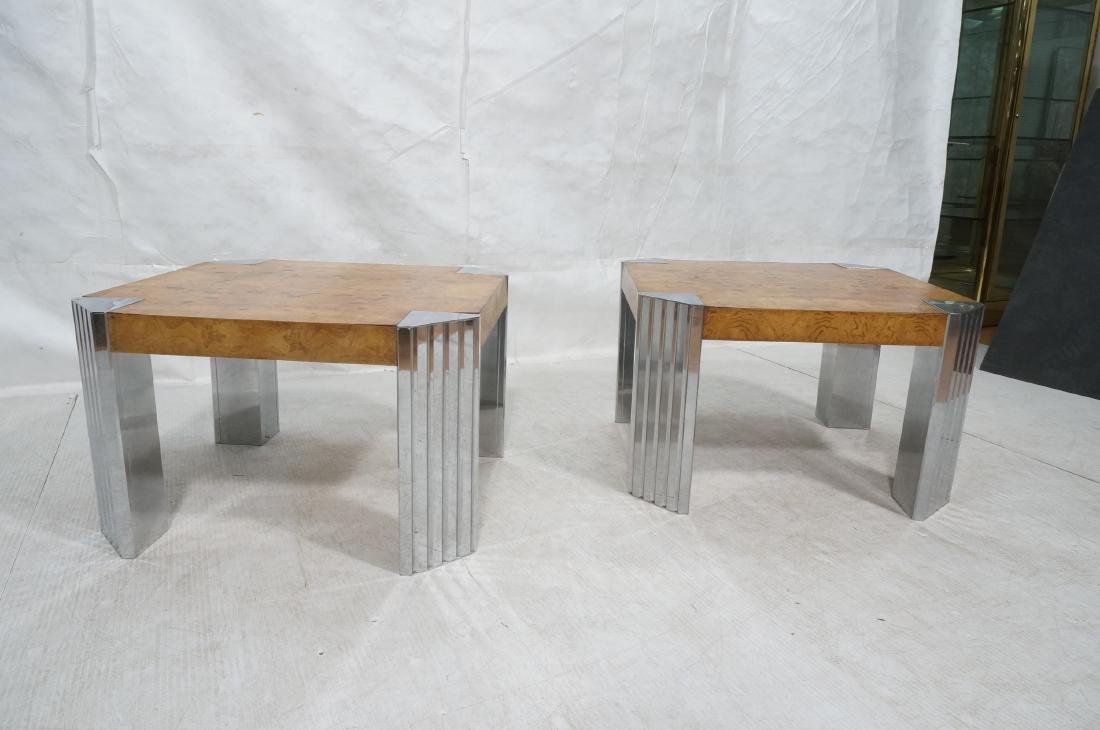 Pr Leon Rosen Side Tables.  Art Deco Burl Wood Si - 2