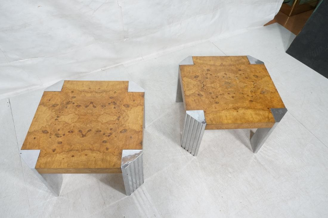 Pr Leon Rosen Side Tables.  Art Deco Burl Wood Si - 3