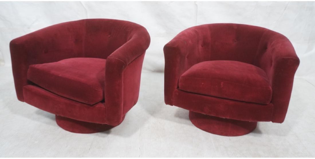 Pr MILO BAUGHMAN Style Barrel Back Lounge Chairs.
