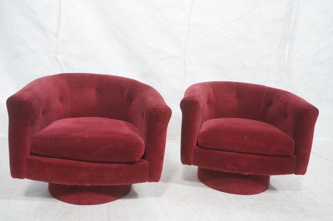 Pr MILO BAUGHMAN Style Barrel Back Lounge Chairs. - 2