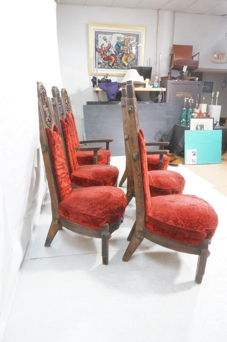 Set of 6 WITCO chairs. Red crushed velvet upholst - 10