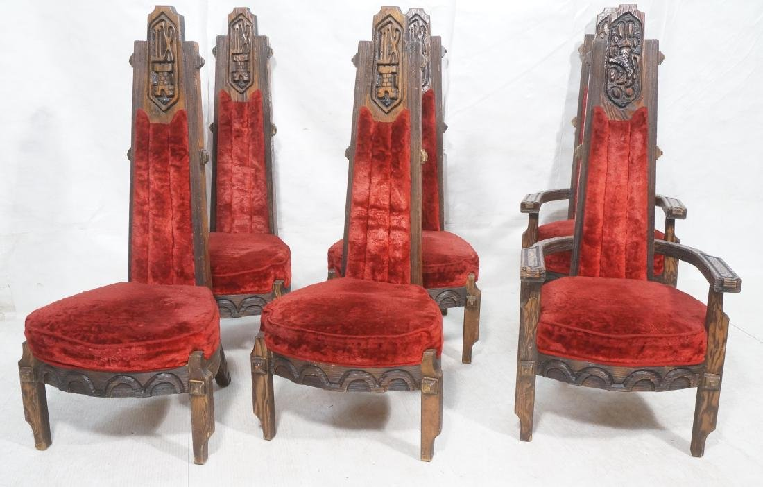 Set of 6 WITCO chairs. Red crushed velvet upholst