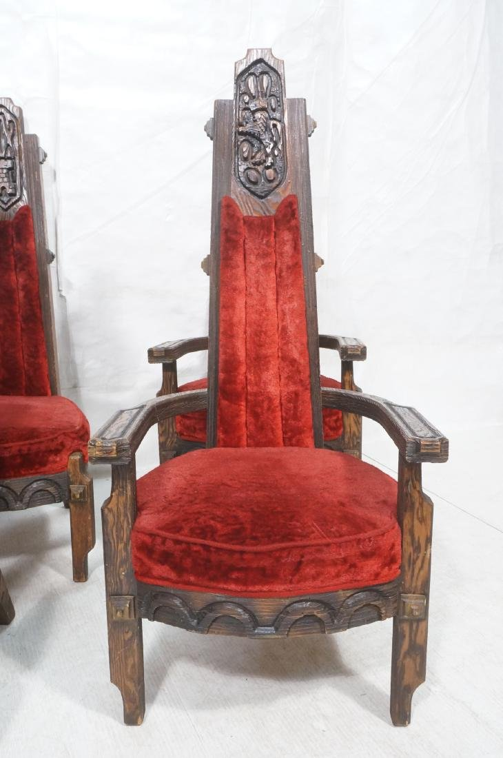 Set of 6 WITCO chairs. Red crushed velvet upholst - 2