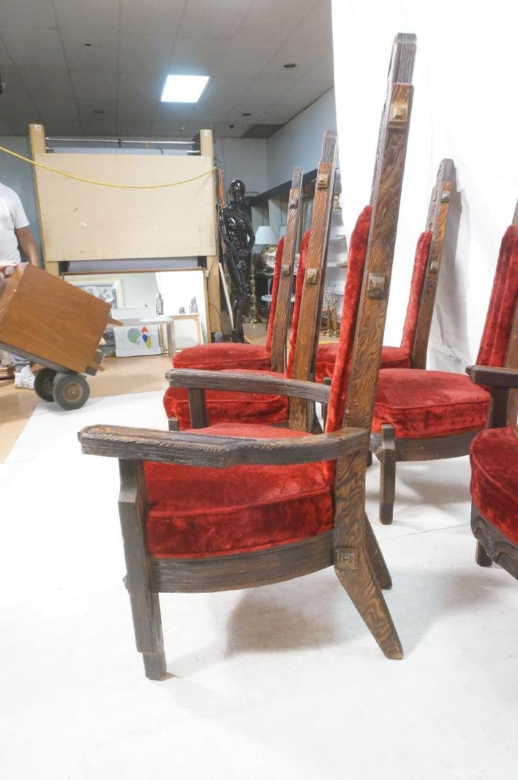 Set of 6 WITCO chairs. Red crushed velvet upholst - 3