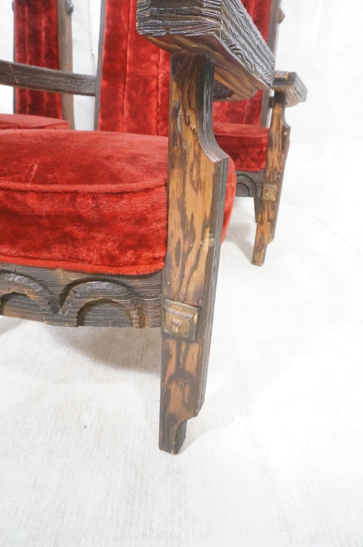 Set of 6 WITCO chairs. Red crushed velvet upholst - 8
