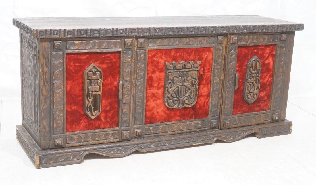 WITCO Carved Wood Credenza Sideboard. Red crushed