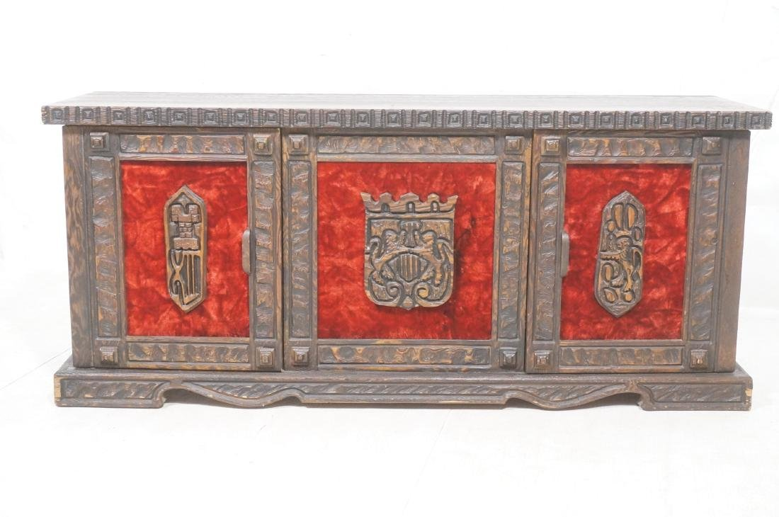 WITCO Carved Wood Credenza Sideboard. Red crushed - 2
