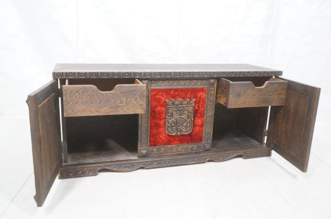 WITCO Carved Wood Credenza Sideboard. Red crushed - 7