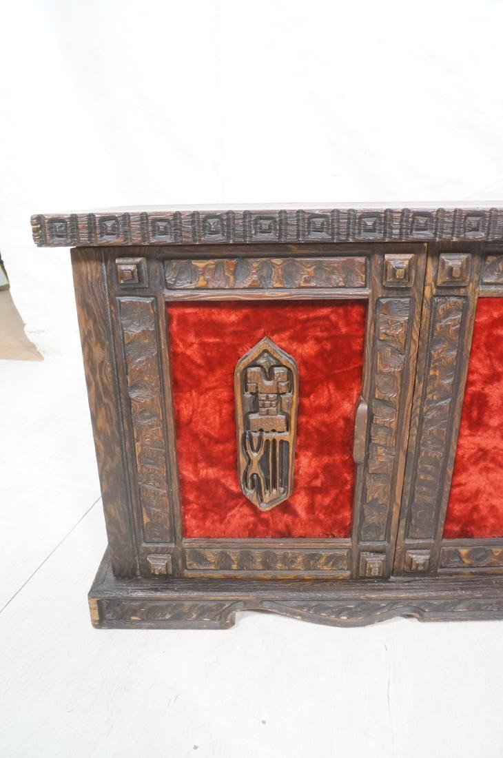 WITCO Carved Wood Credenza Sideboard. Red crushed - 8