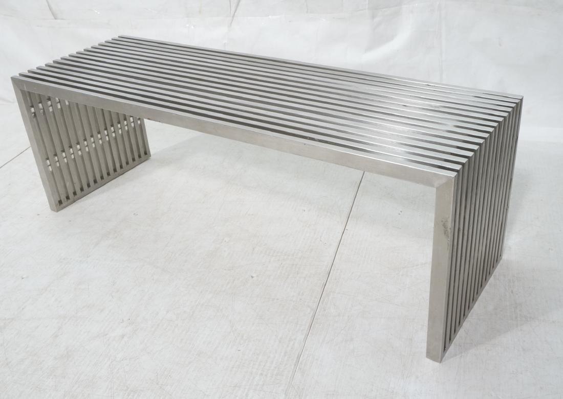 Stainless Steel Modernist Slat Bench. Contemporar