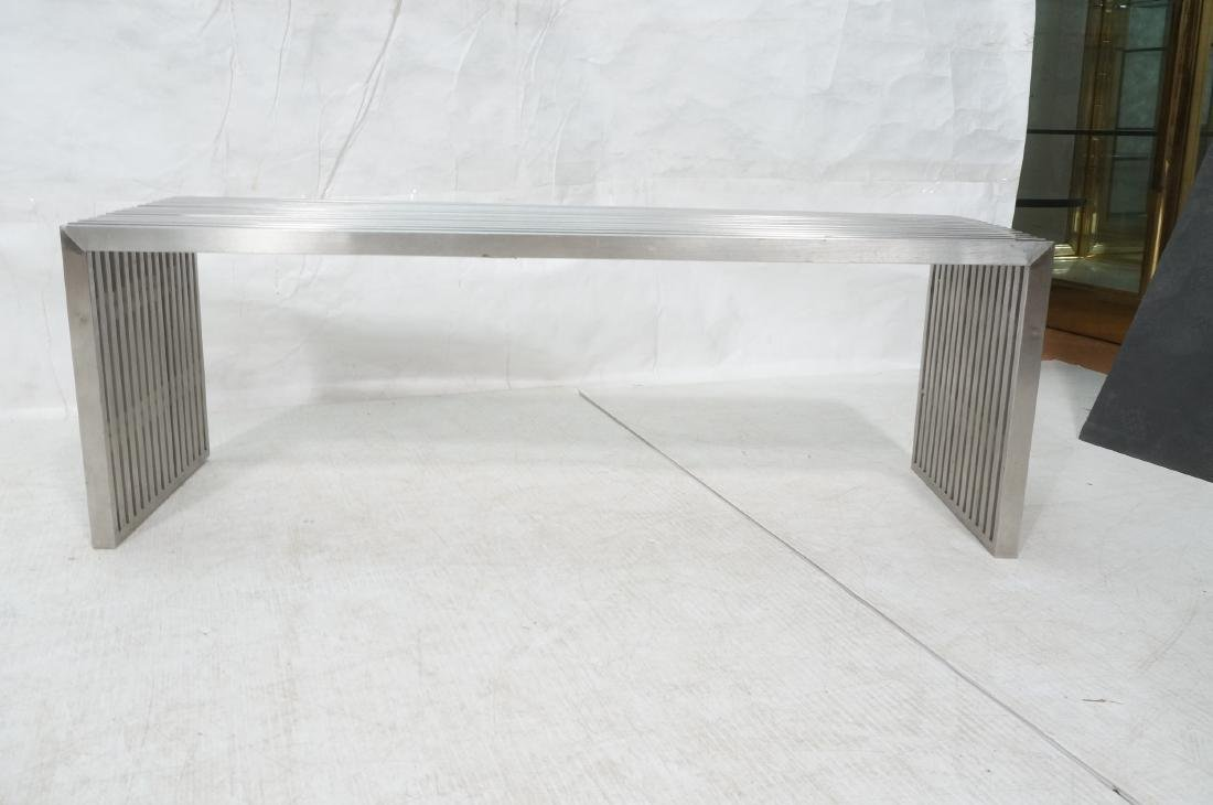 Stainless Steel Modernist Slat Bench. Contemporar - 2